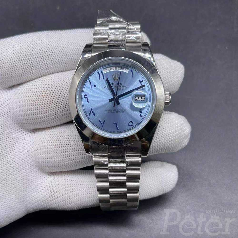 DayDate 40mm silver/blue arabic numbers AAA automatic men watch S