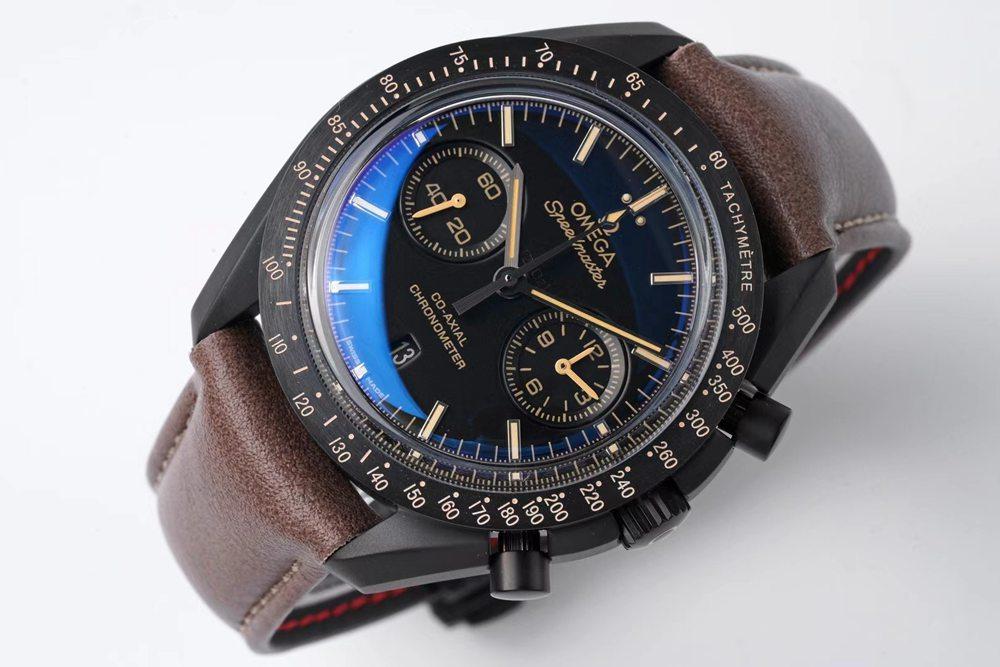 Omega Speedmaster chronometer full works 9300 thickness 17.2mm black case brown leather XD