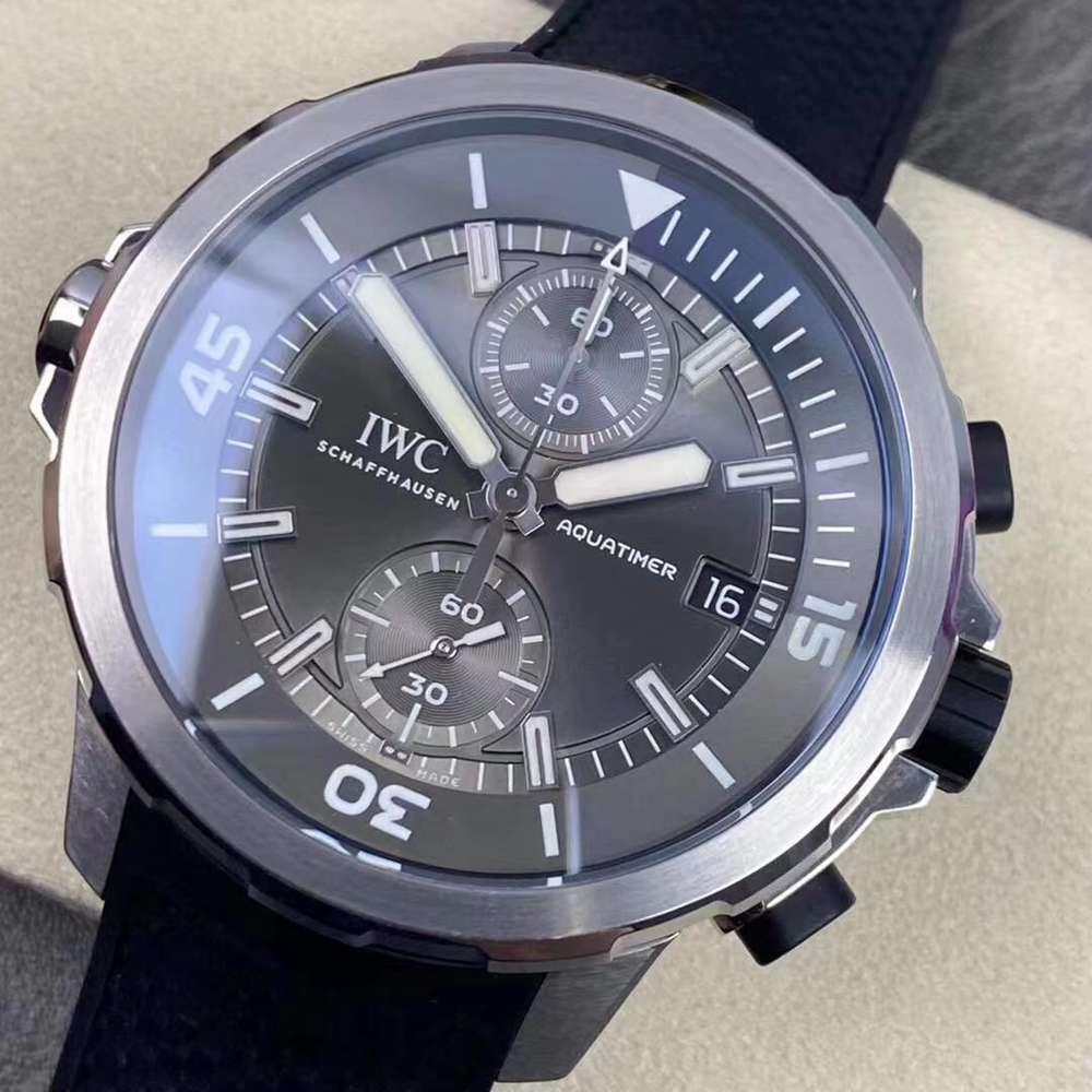 IWC Aquatimer 7750 full works chronometer silver case gray dial 45mm men stopwatch M160