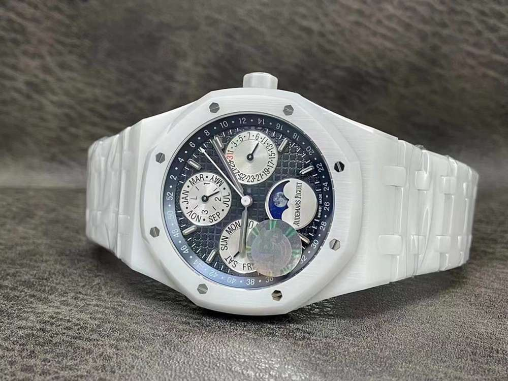 AP all white ceramic case 41mm blue face all sub-dials work Swiss automatic 5134 APS factory M285