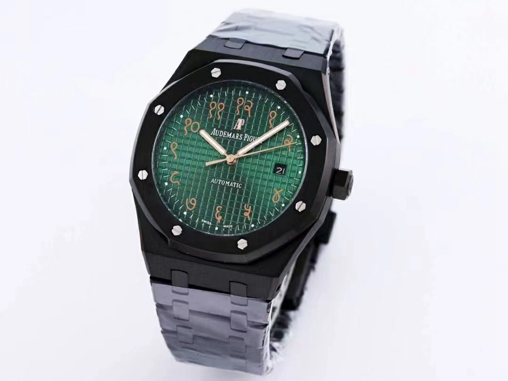 AP black 41mm automatic green/blue dial Arabic numbers men AAA replica watches XJ029