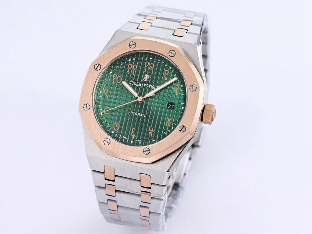 AP 41mm AAA automatic rose gold 2tone and silver colors green/blue dials Men XJ029