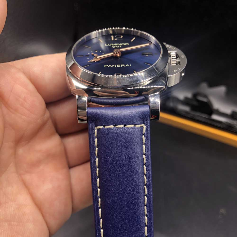 Panerai 40mm silver case blue dial blue leather strap Swiss 1:1 grade P9001 movement Z185