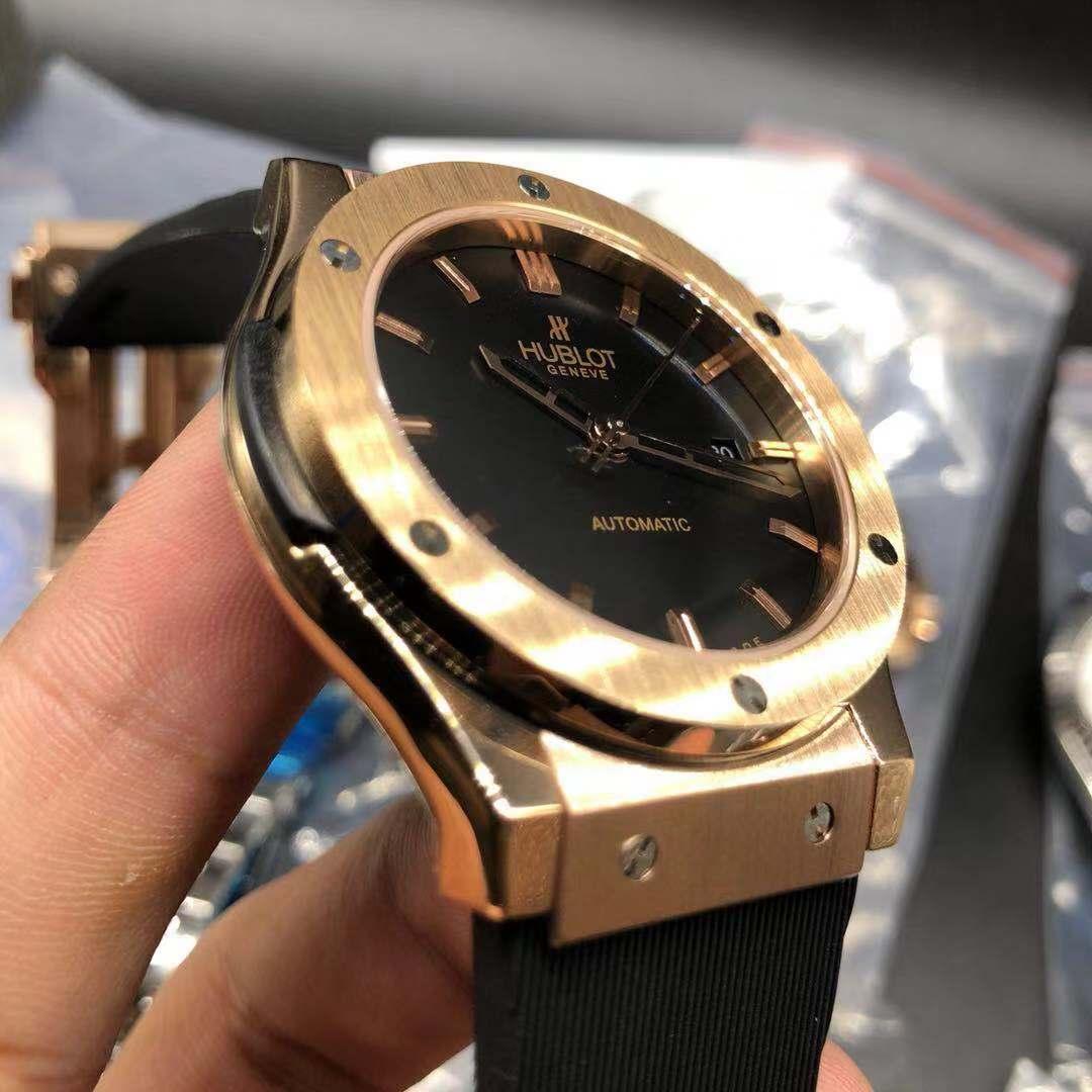 Hublot rose gold case 42mm automatic AAA grade black dial black rubber strap men watch XJ022