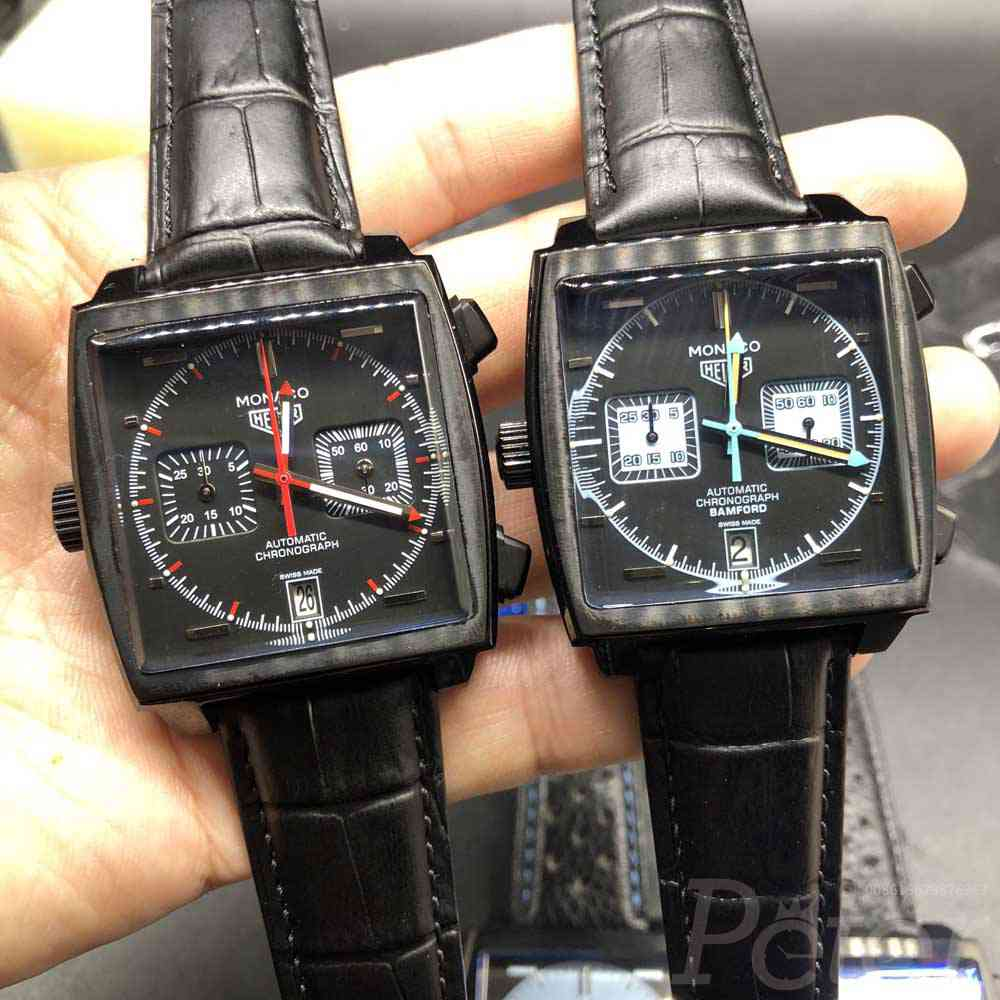 TAG Monaco black case 40mm black leather VK quartz full chronograph functions M030