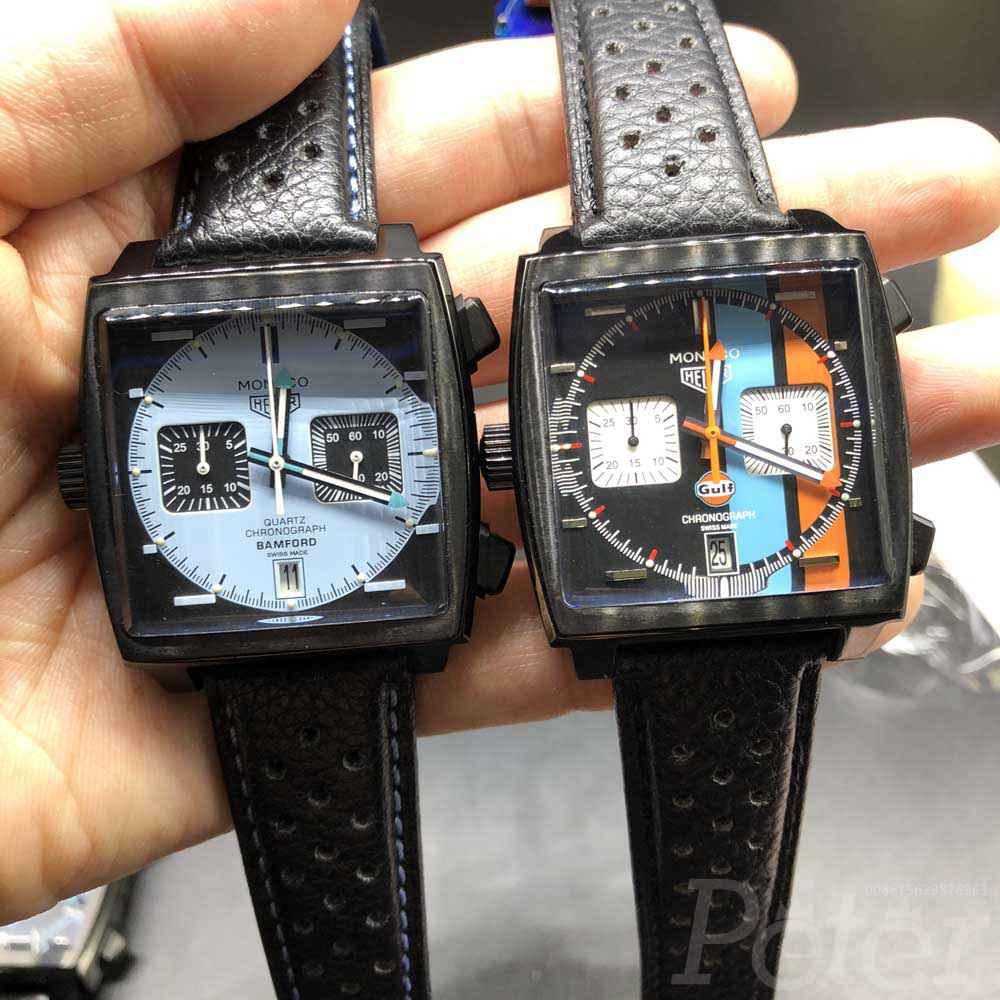 TAG Monaco AAA VK quartz black case black leather chronograph full works M030