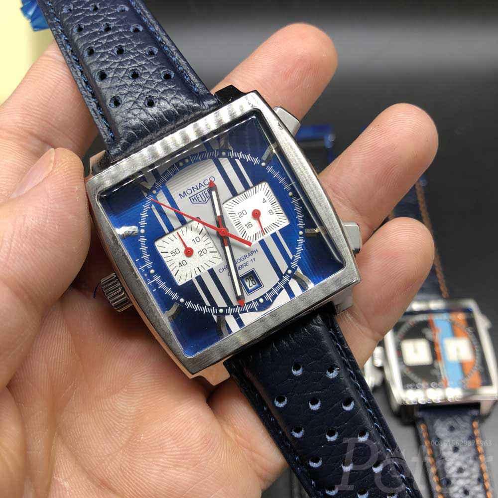 TAG Monaco VK quartz silver case 40mm blue leather band full chronograph function M029