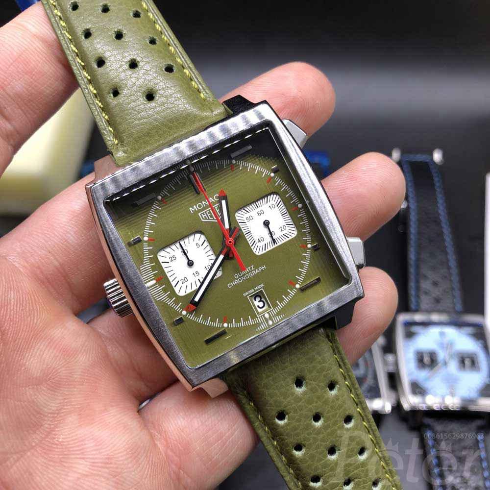 TAG Monaco 40mm silver case green dial green leather strap VK quartz movement M029