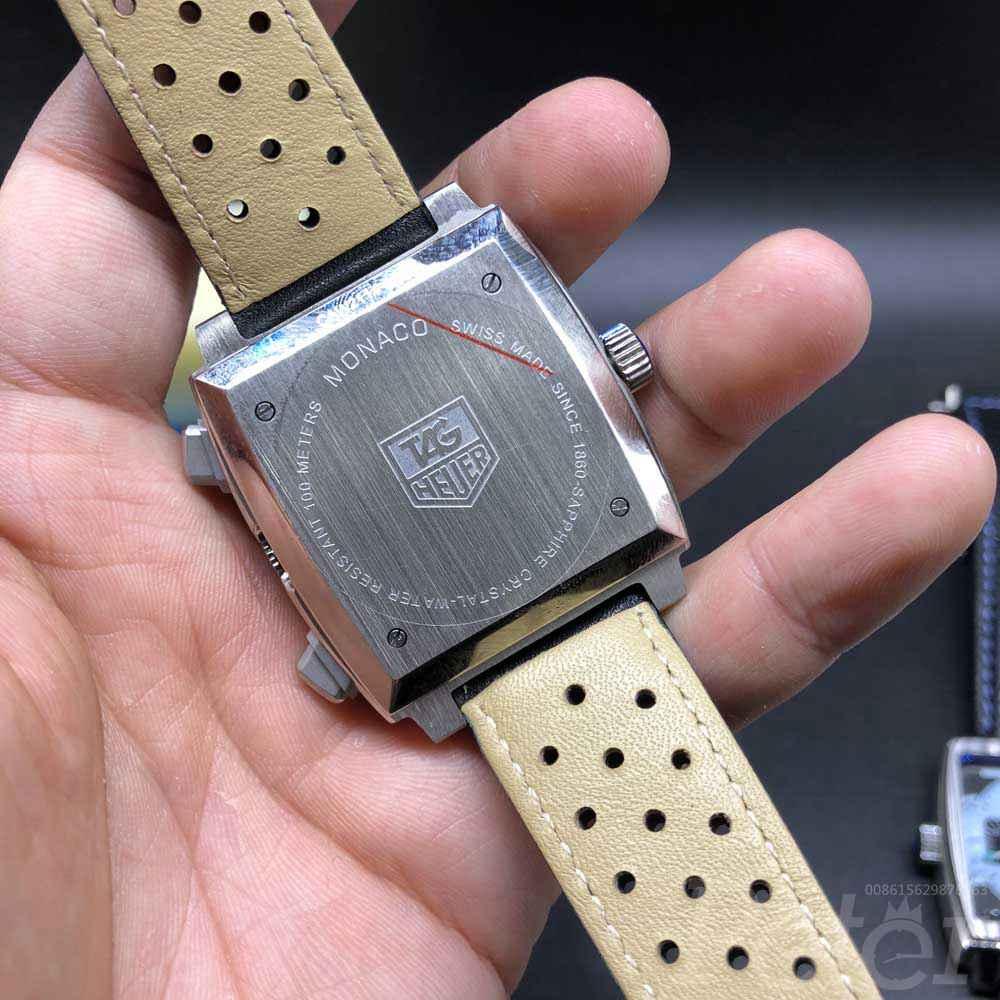 TAG Monaco VK quartz AAA silver/black full chronograph functions black leather band M029