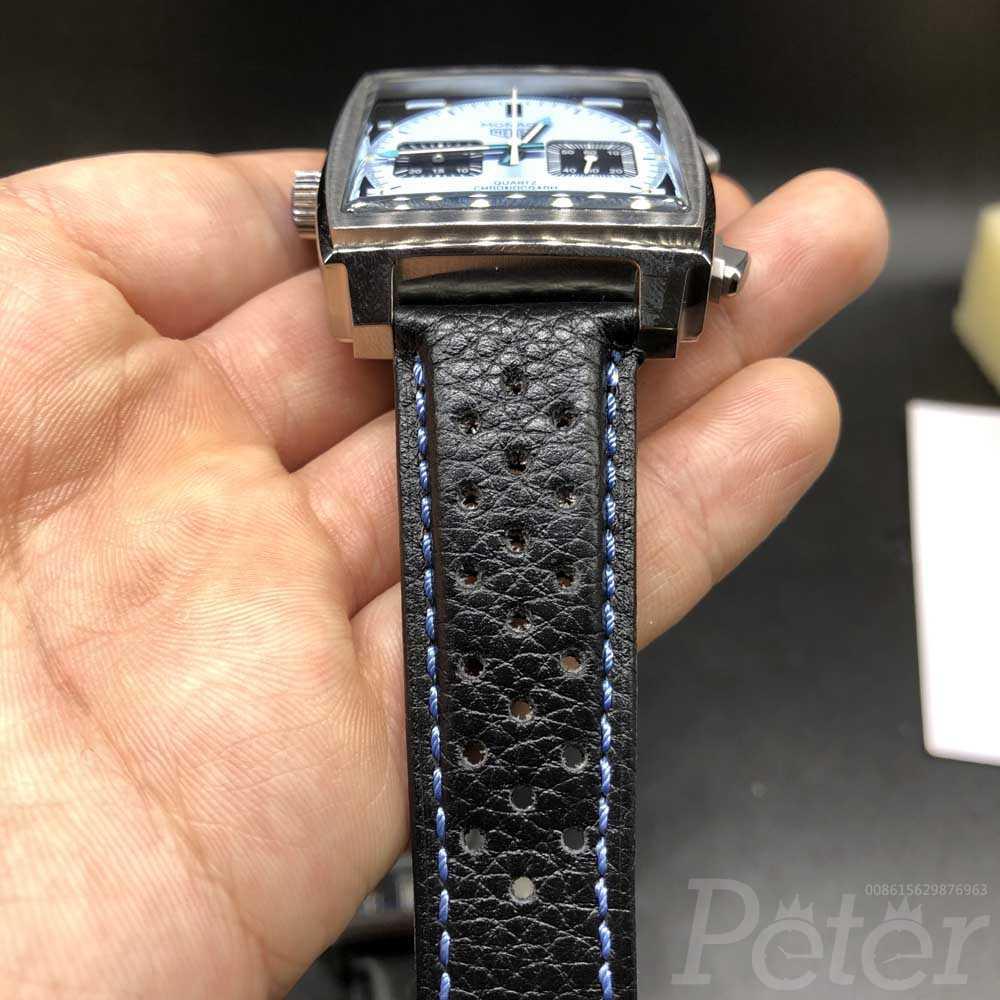 TAG Monaco silver case light blue dial leather strap quartz movement AAA men stopwatch M