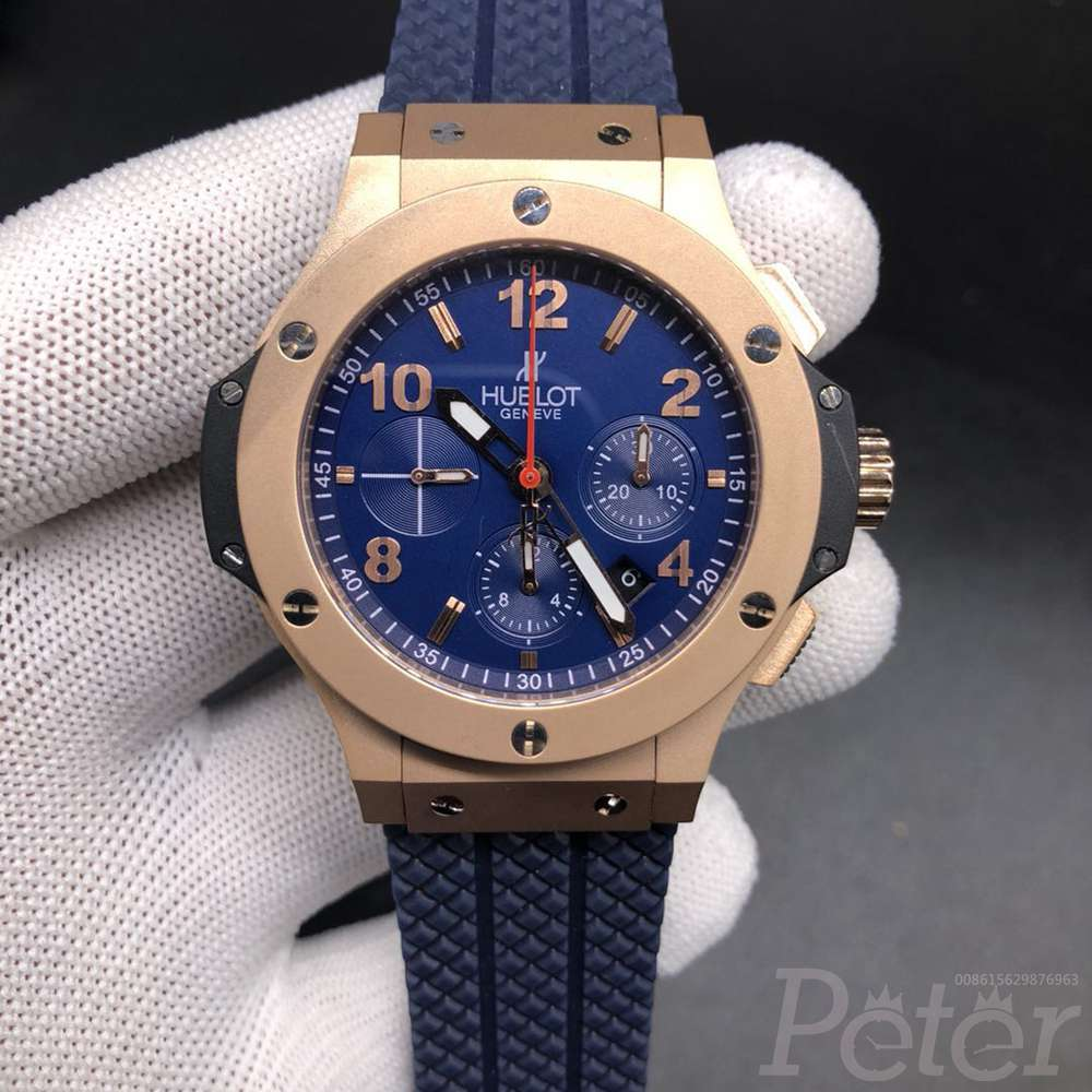 Hublot rose gold case 42mm blue dial Chronograph 7750 full works men watch blue rubber M105