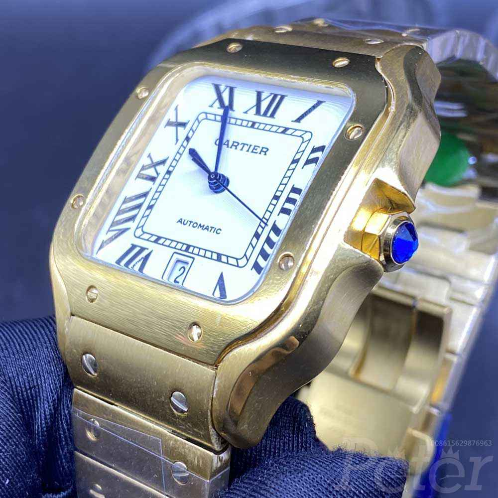 Cartier Santos gold case 38.5mm white dial AAA automatic high quality men watch HZ036