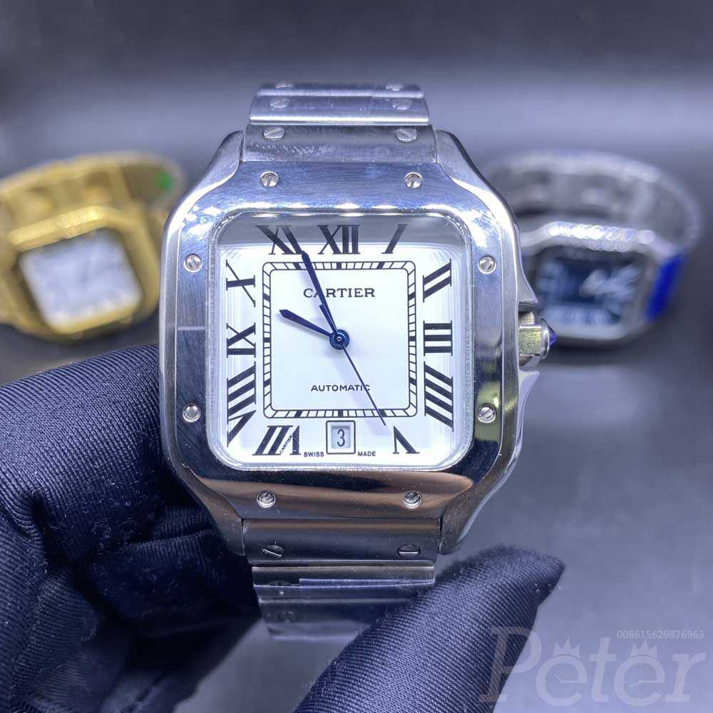 Cartier Santos 38.5mm stainless steel case white dial AAA automatic men replica watches HZ034