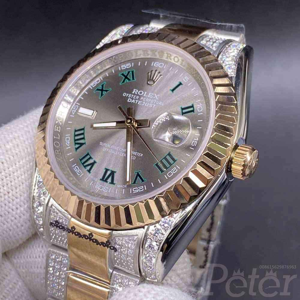 Datejust 2tone rose gold 39mm gray dial diamonds strap AAA automatic MH062