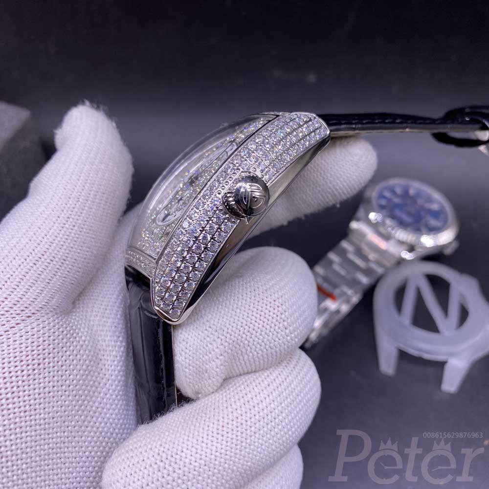 FM shiny diamonds silver case 39x46mm AAA automatic men watch WS048