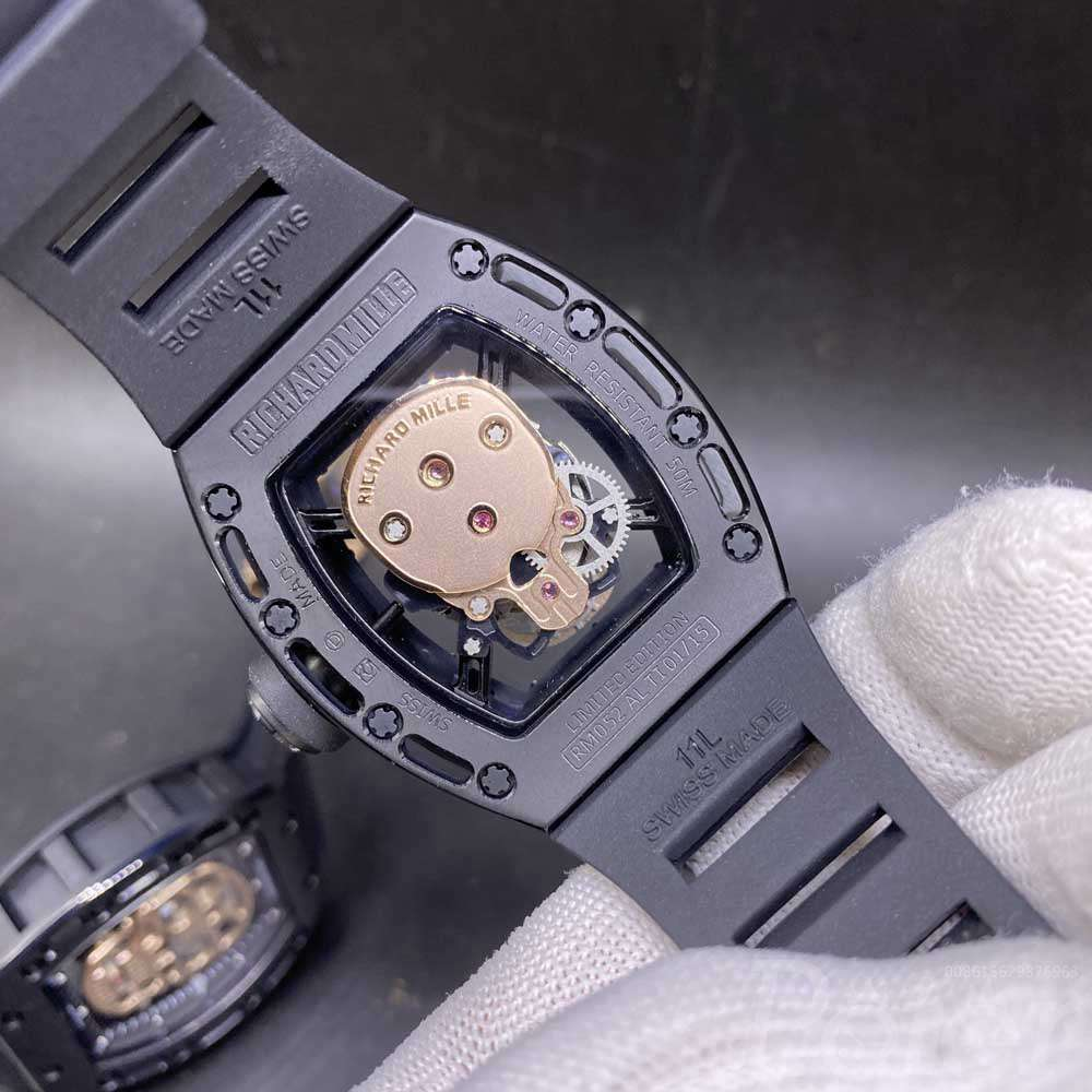RM052 skull rose gold dial black case 43x50mm black rubber strap Miyota automatic XD063