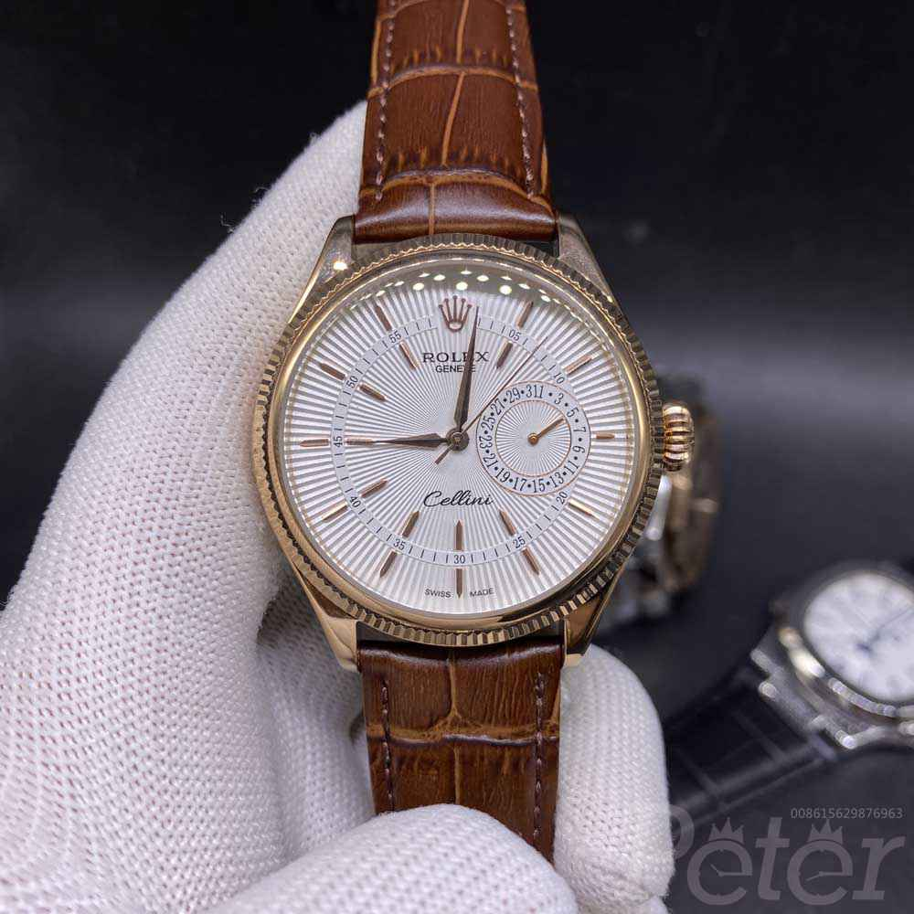 Cellini automatic 40mm rose gold case white dial brown leather AAA grade MH025