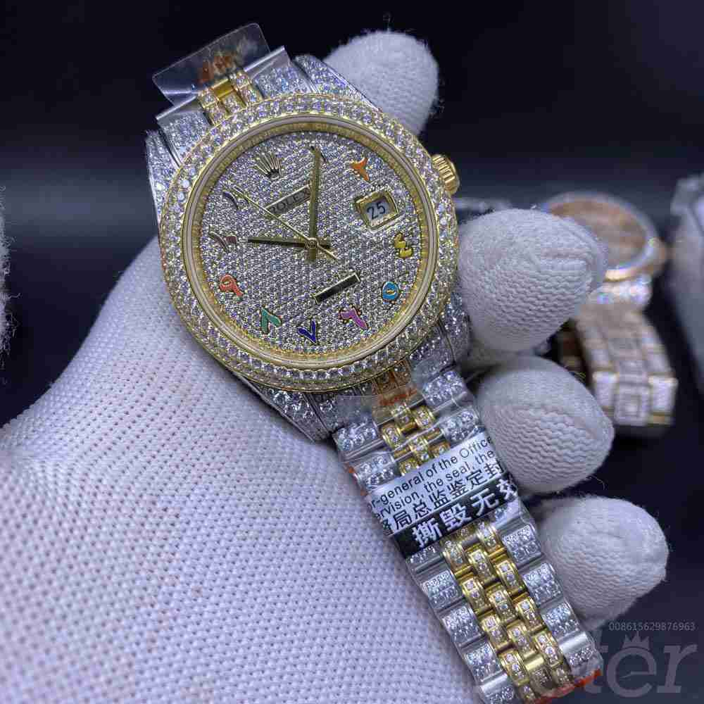Datejust diamonds two tone gold case 41mm rainbow arabic numbers jubilee band 3255 auto XD230