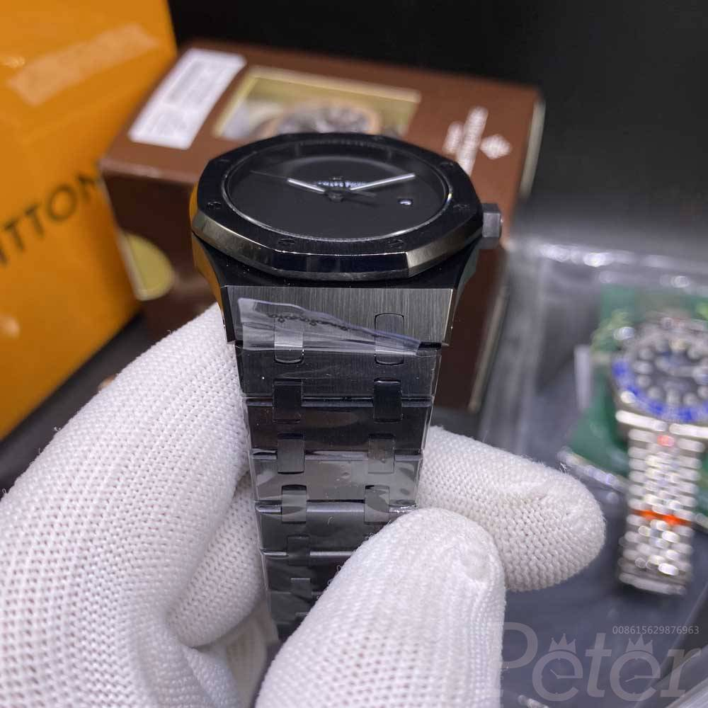 AP all black AAA automatic stainless steel case 42mm black case black dial glass back YC031