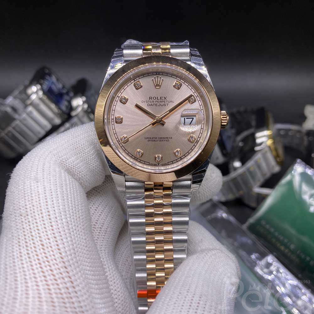 Datejust rose gold case 39mm EW factory 3235 smooth bezel jubilee band WT125