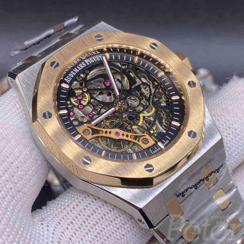 AP skeleton rose gold two tone case 42mm AAA automatic men luxury watch YC041