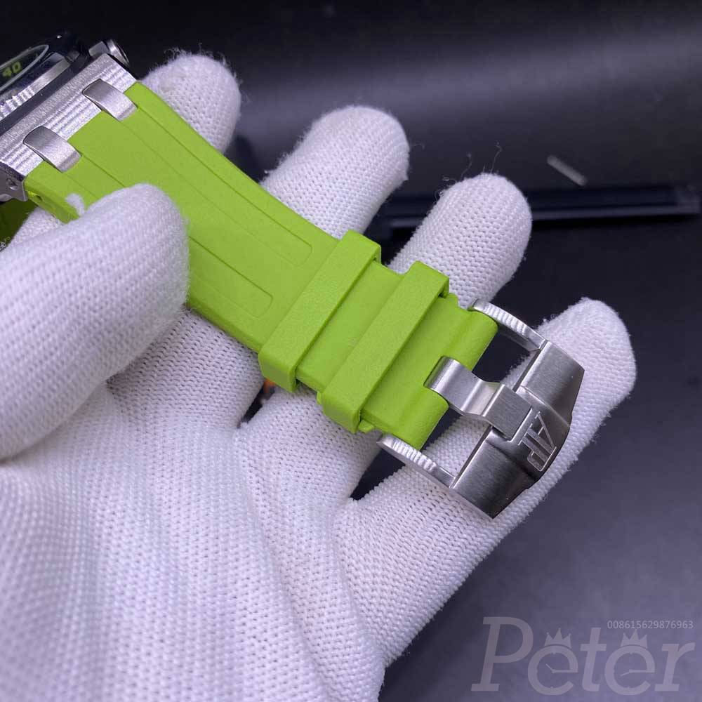 AP automatic 42mm silver case green/orange face rubber strap AAA men watches M030