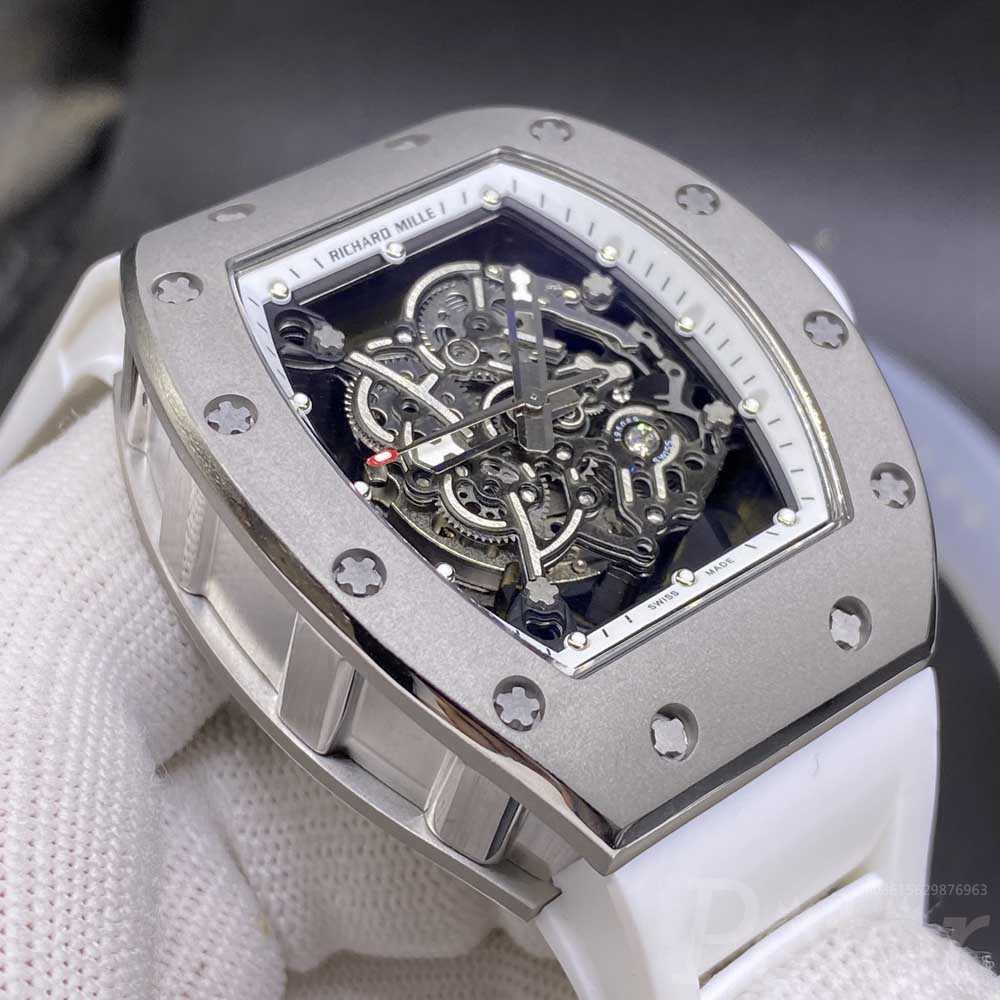 RM055 Titanium case 43x50mm Miyota automatic see-through case with white rubber XD080