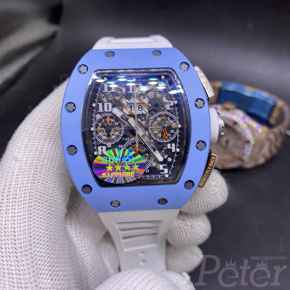 RM011-FM baby blue ceramic case 43x50mm top grade Chronograph 7750 full works XD270