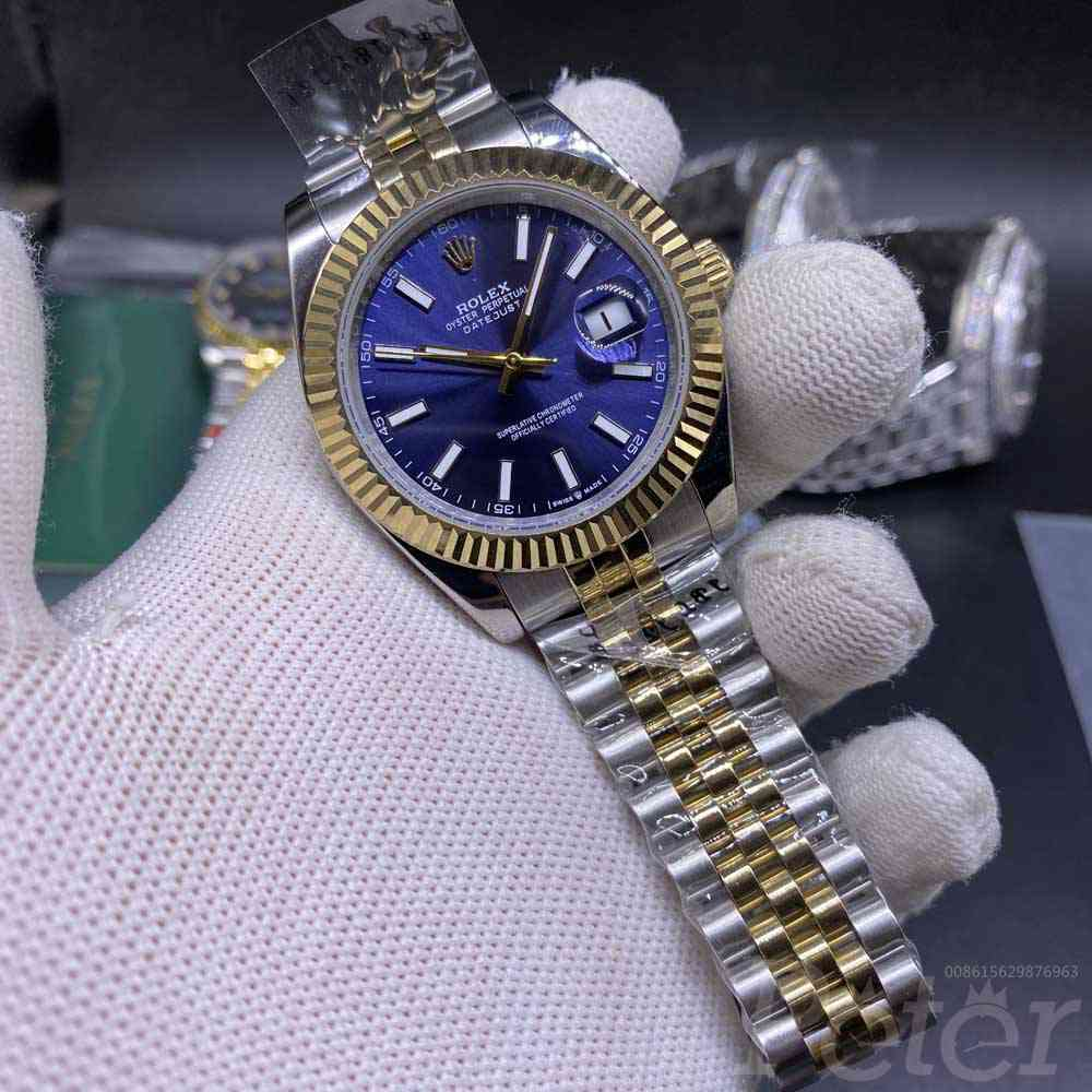 Datejust 41mm two tone gold case blue dial jubilee band AAA automatic 2813 S023