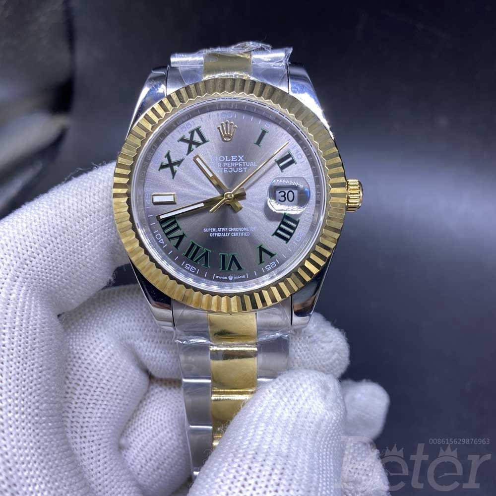 Datejust two tone gold 40mm gray dial roman numbers oyster band AAA+ automatic YT031