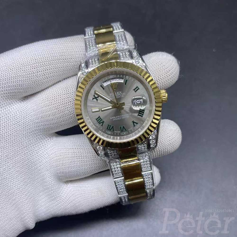 DayDate 40mm 2tone gold case gray dial AAA automatic diamonds strap MH062