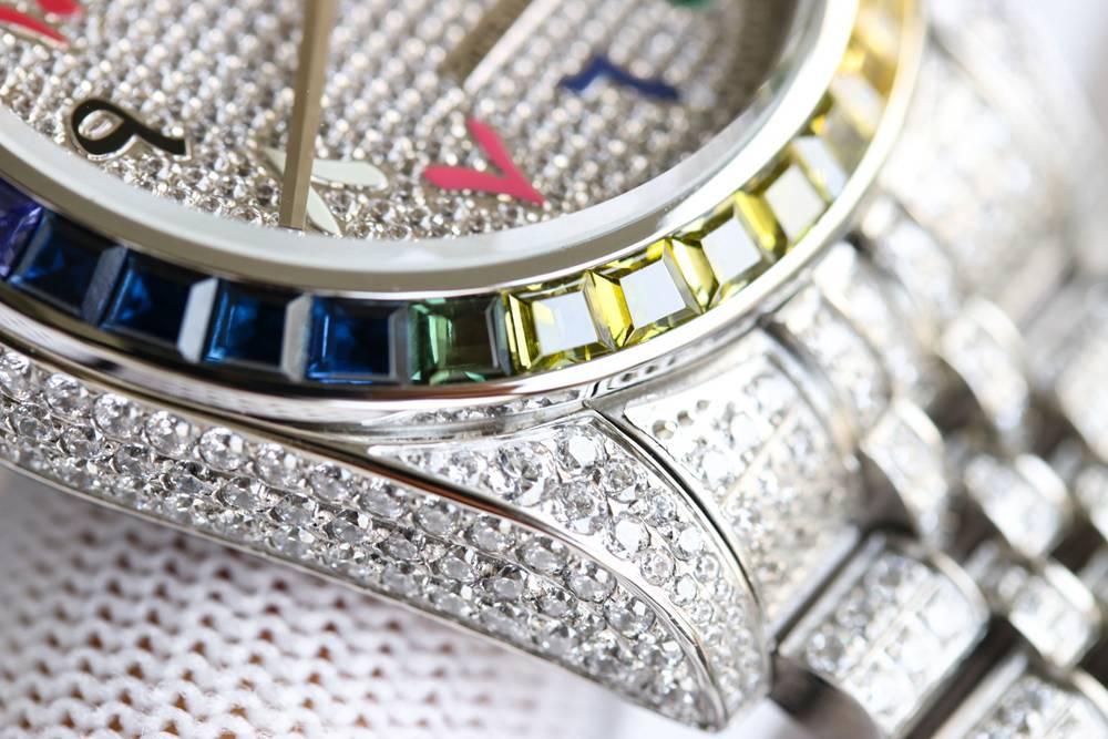 Datejust 41mm diamonds Swarovski all white arabic numbers automatic 3255 movement XD230
