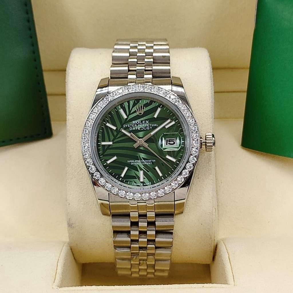 Datejust AAA 36mm steel case palm leaf green dial diamonds bezel jubilee band S025