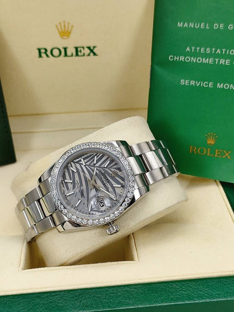 Datejust 36mm Palm leaf dial diamonds bezel oyster band AAA automatic women S025