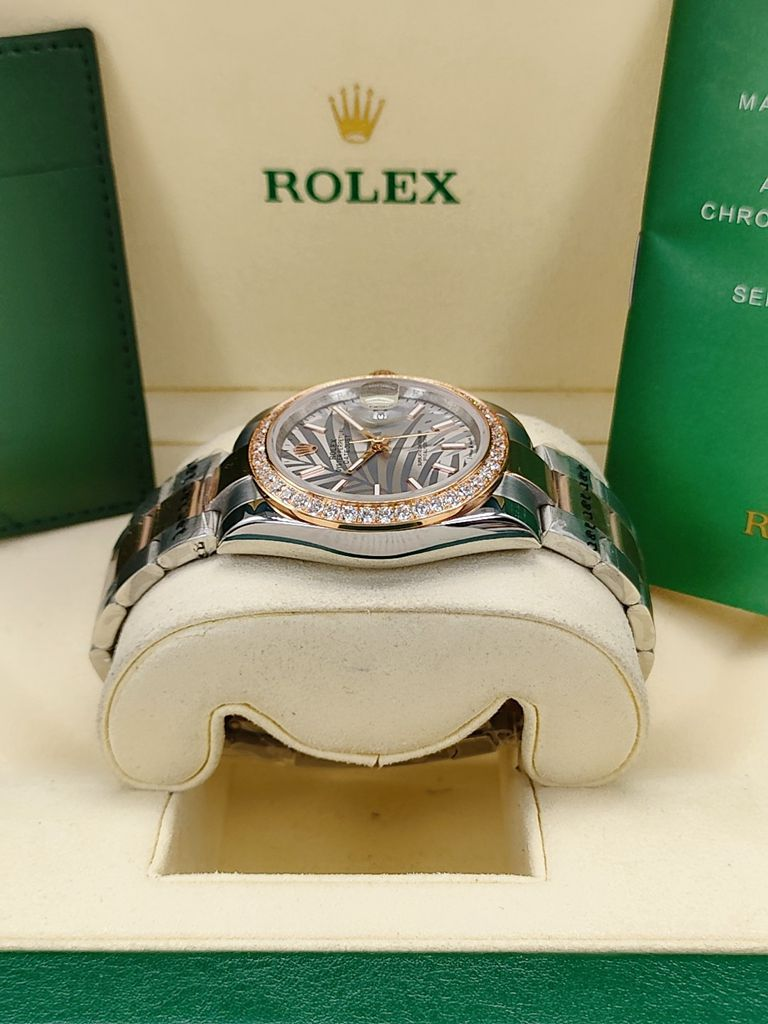 Datejust 2tone rose gold Palm leaf dial diamonds bezel 36mm AAA automatic S025