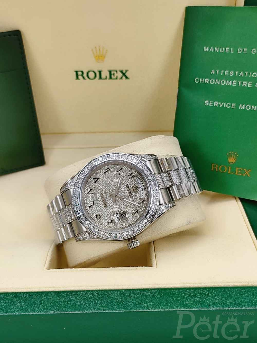 DayDate 41mm silver case diamonds face Arabic numbers AAA automatic S045