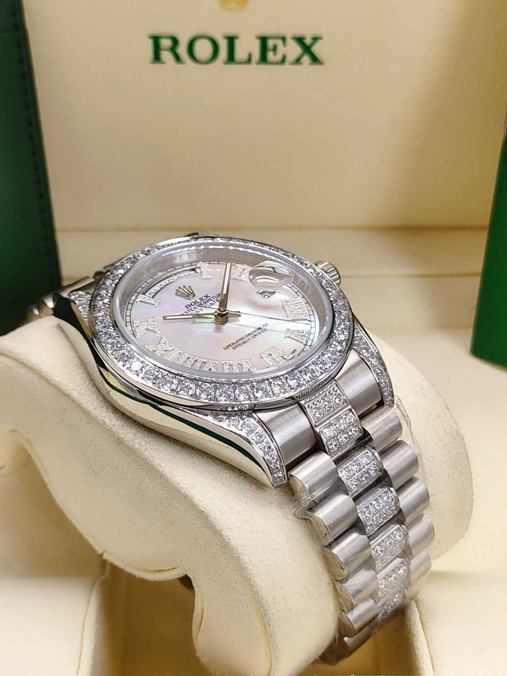 DayDate 41mm silver case white pearl dial diamonds bezel AAA auto stone Roman numbers S045
