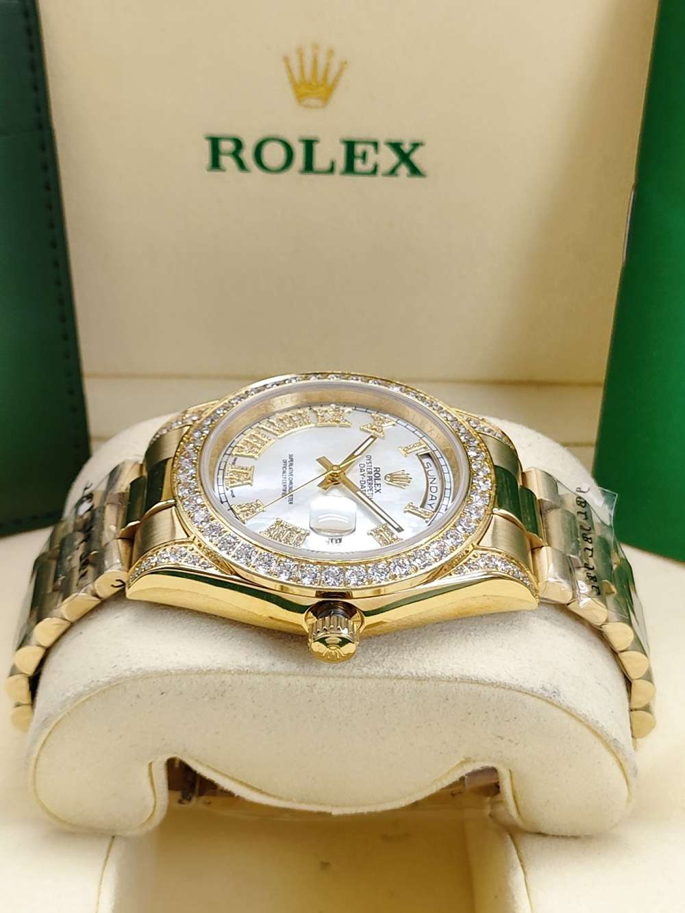DayDate 41mm gold case white pearl dial stones Roman numbers diamonds AAA auto bezel S045