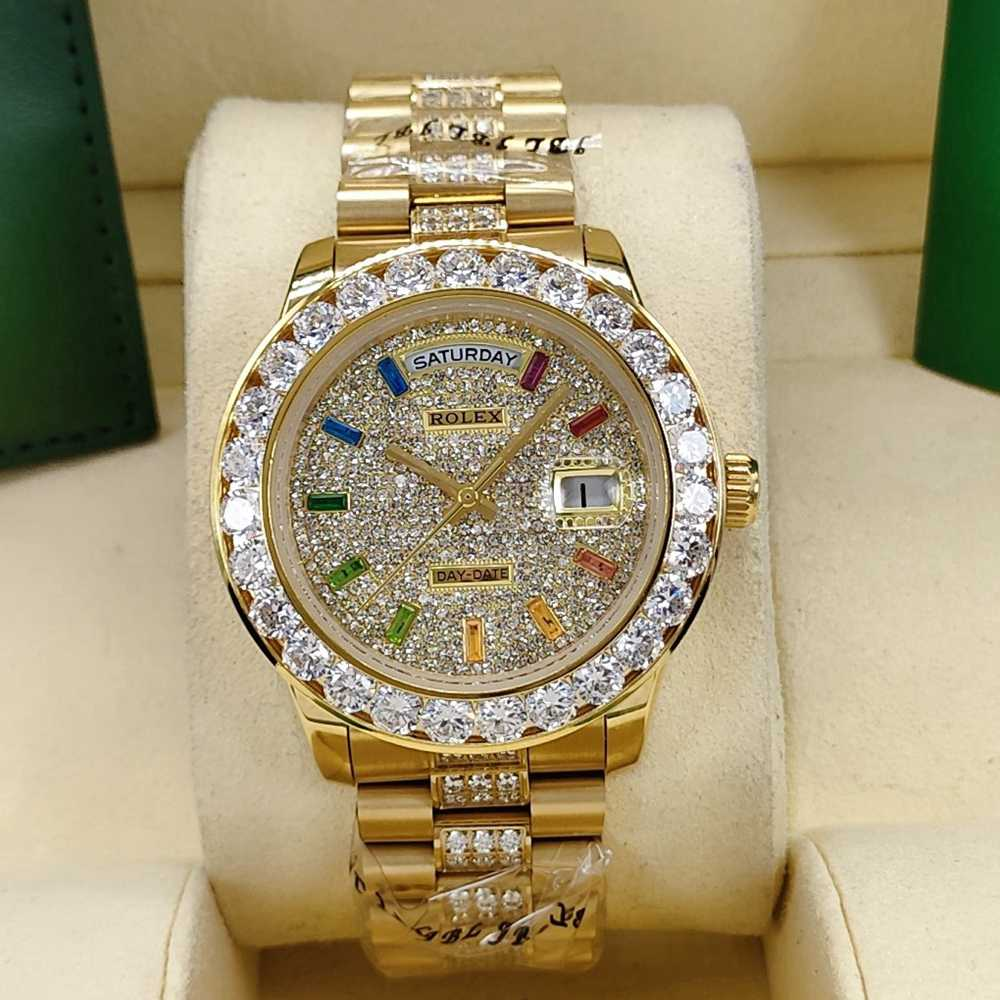 DayDate 40mm gold case diamonds face rainbow stone numbers AAA automatic S045