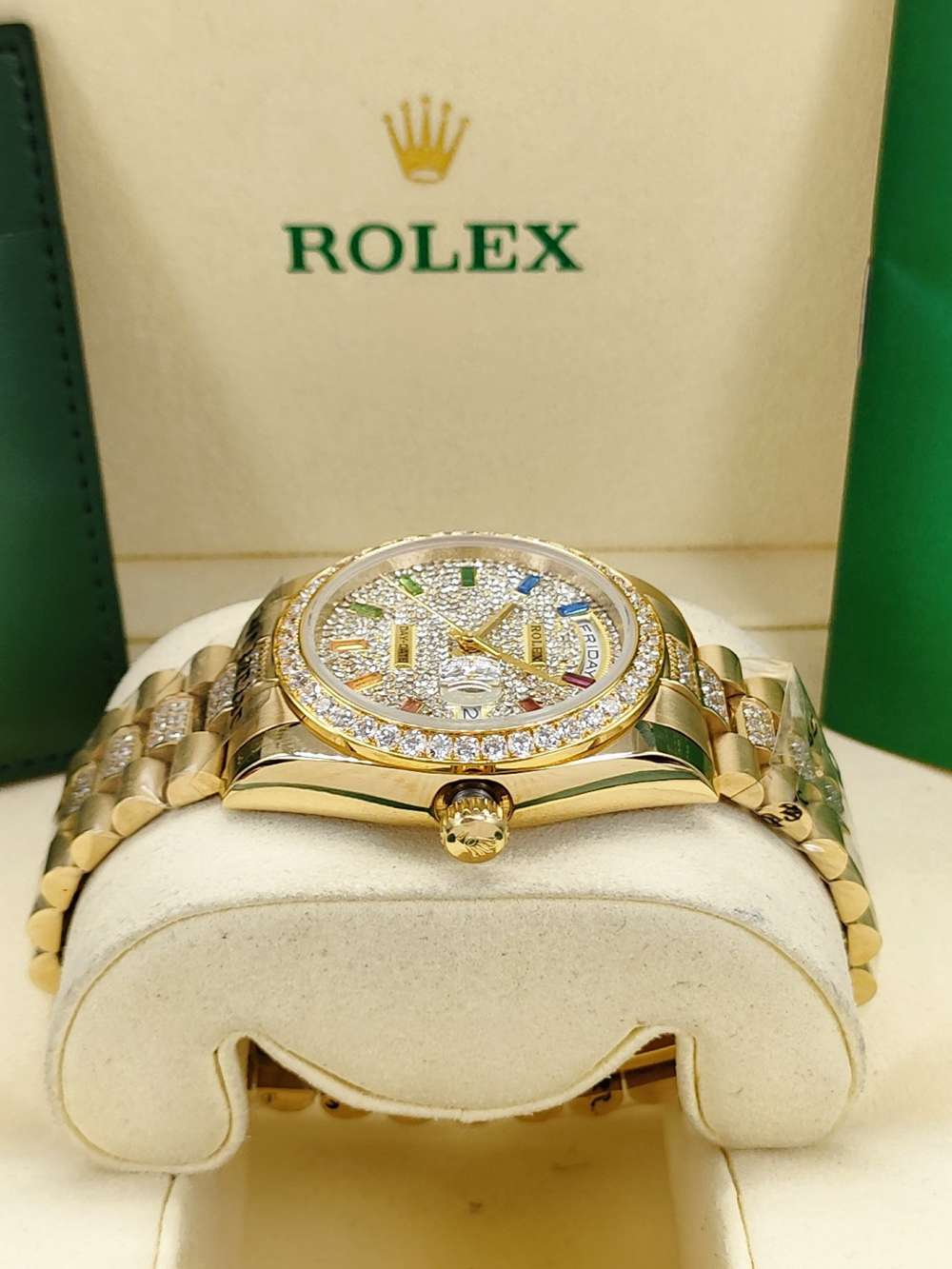 DayDate 36mm gold case diamonds face rainbow numbers AAA automatic S045