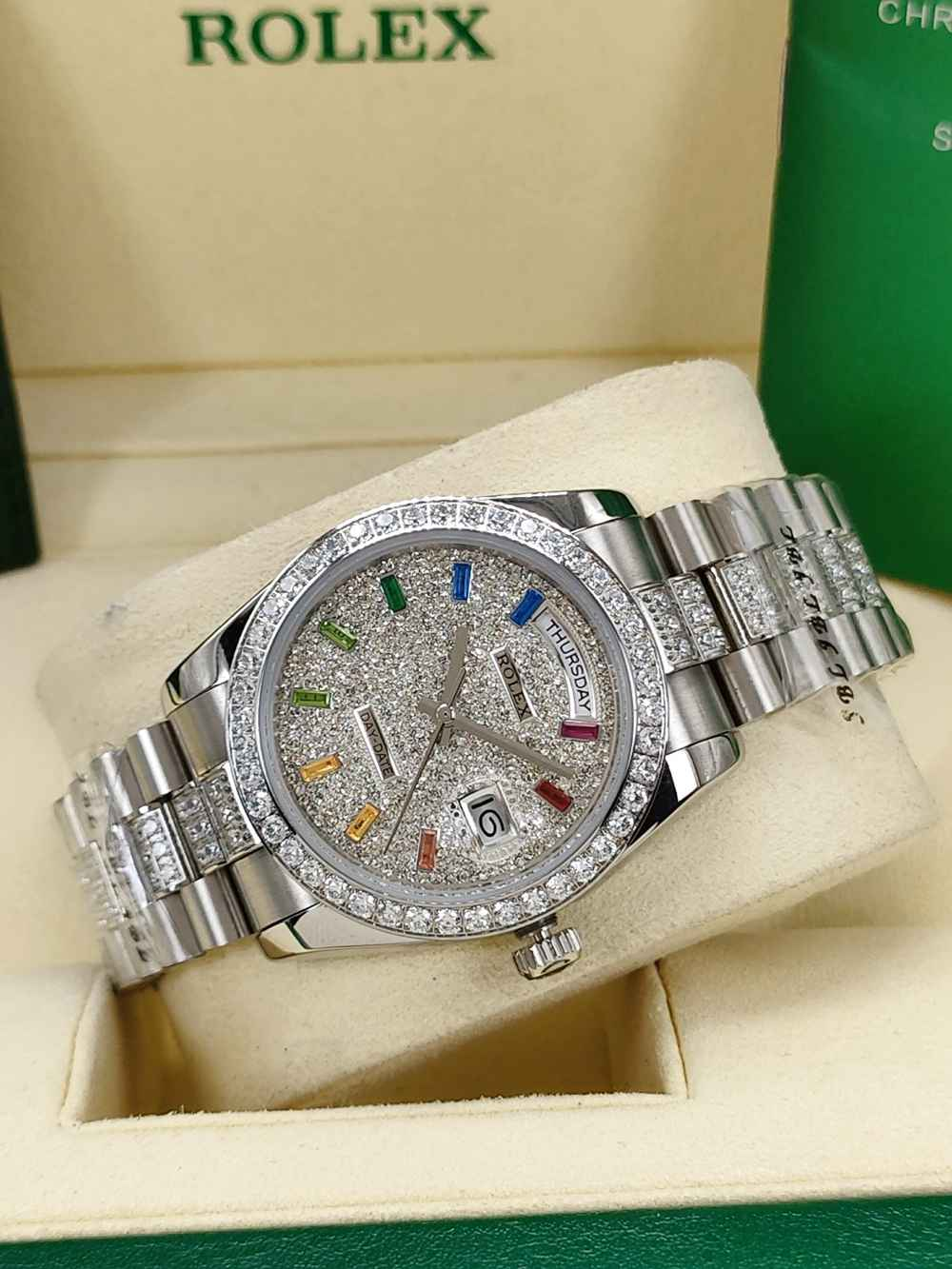 DayDate 36mm silver case diamonds face rainbow baguette stone numbers AAA automatic S045