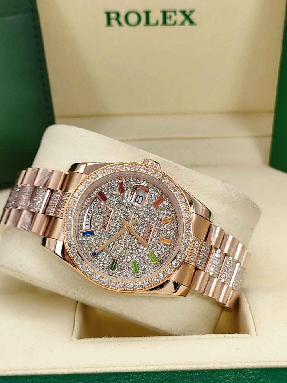 Datejust 36mm rose gold case diamonds face rainbow stone numbers AAA automatic S045