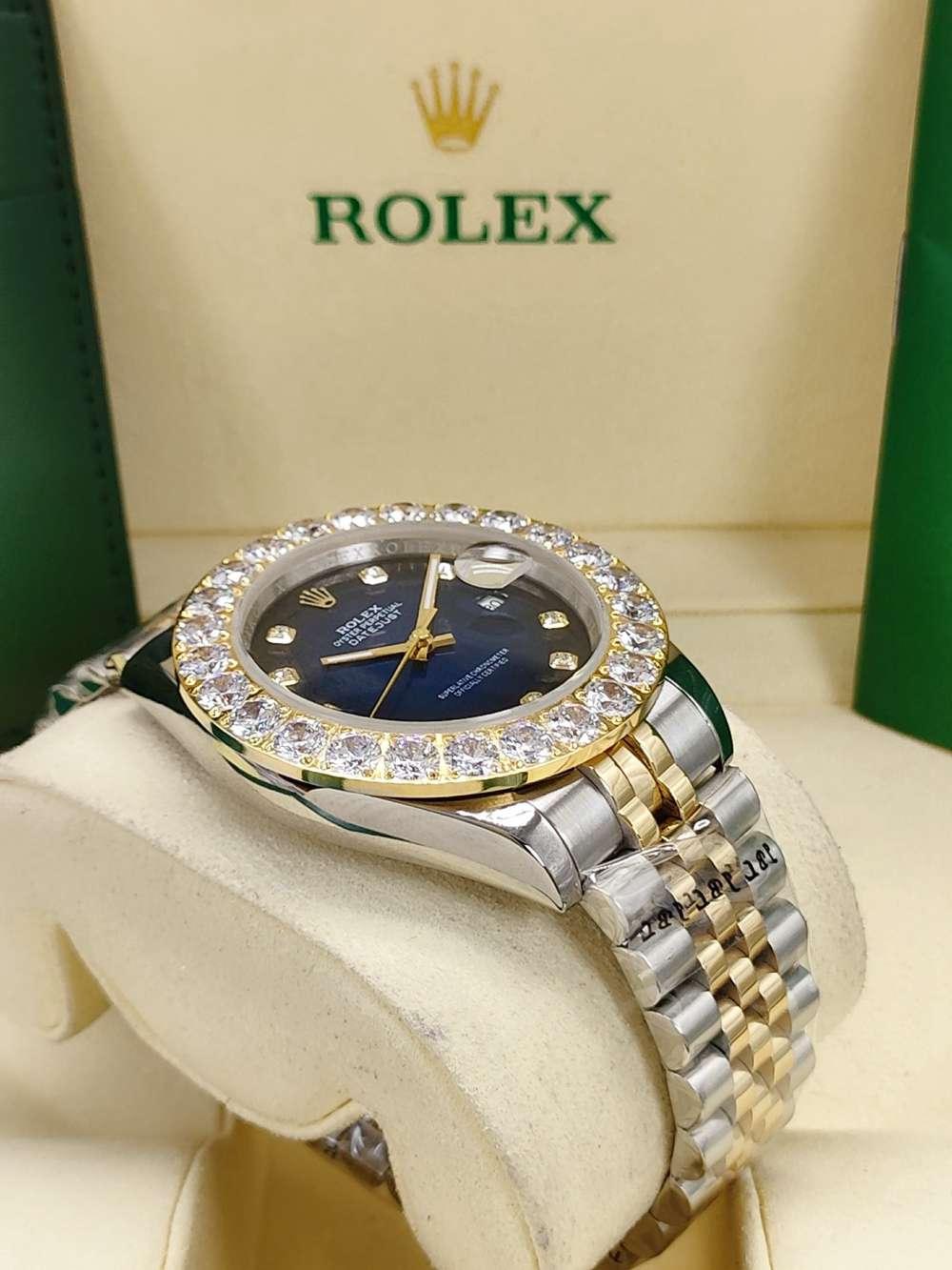 Datejust 43mm blue/red 2tone gold case jubilee band prongset diamonds bezel S030