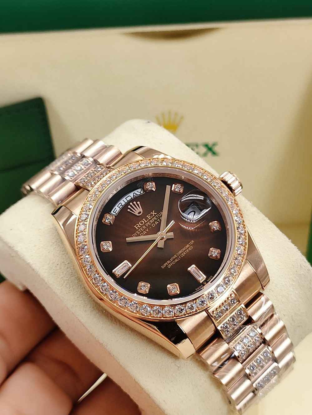 DayDate rose gold 36mm brown/rose gold/white pearl dials AAA diamonds straps S040