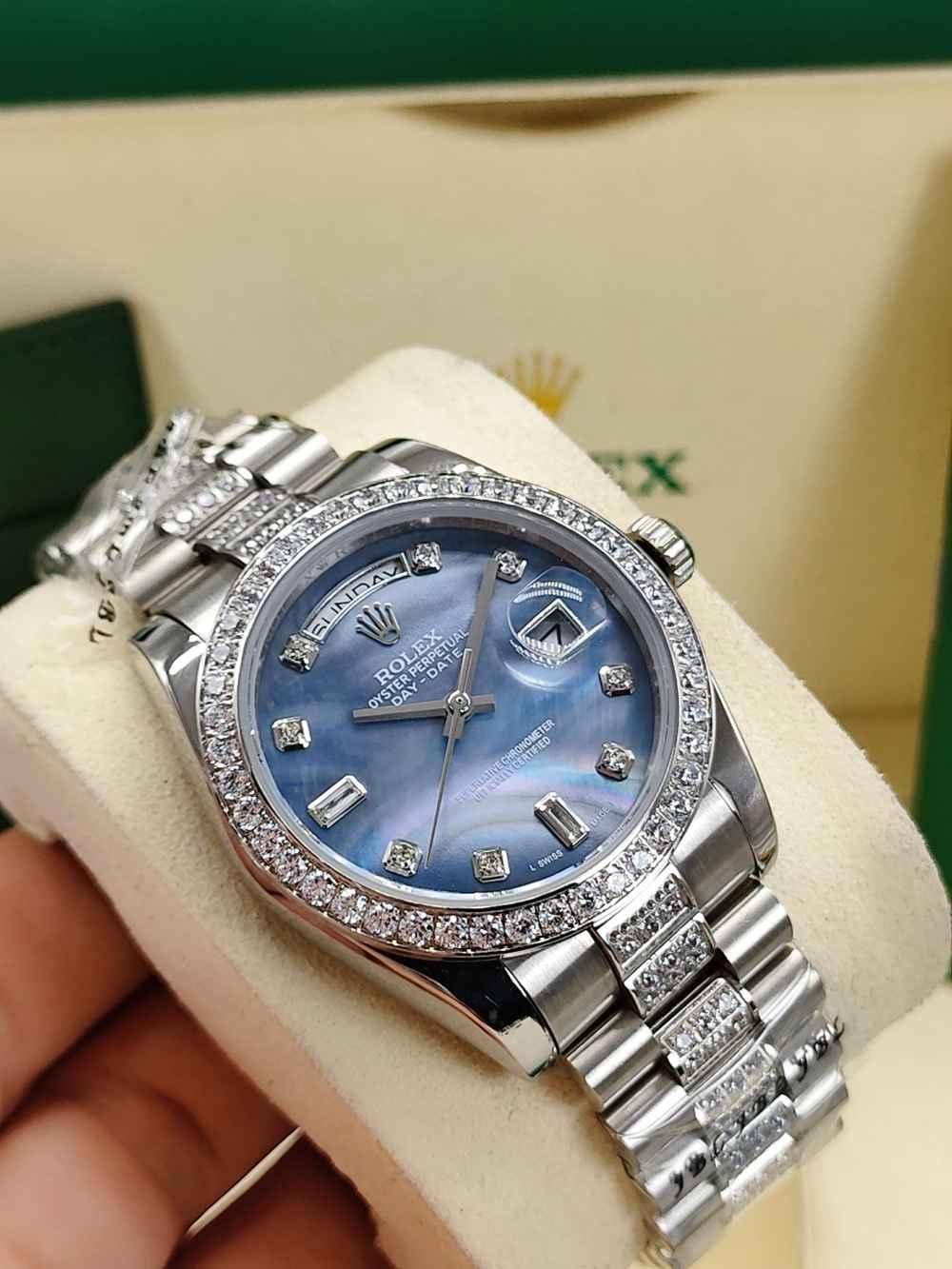 DayDate 36mm blue/blue pearl/white pearl/black dials diamonds bezel AAA automatic S040