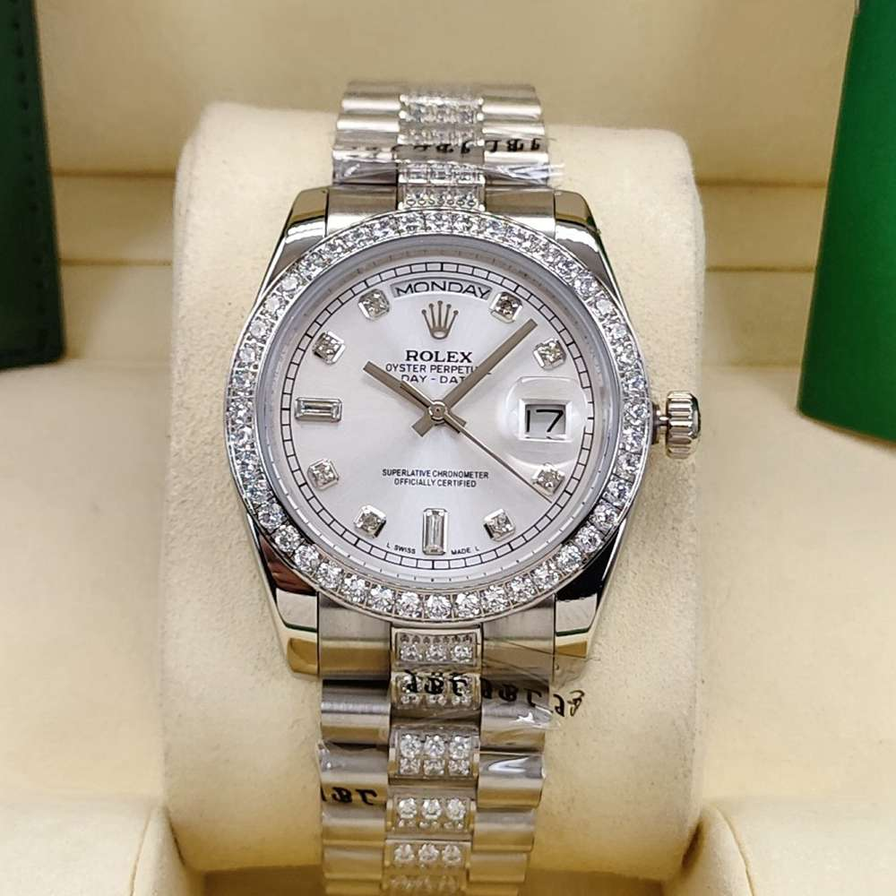 DayDate 36mm AAA automatic diamonds strap silver dial stone numbers S040