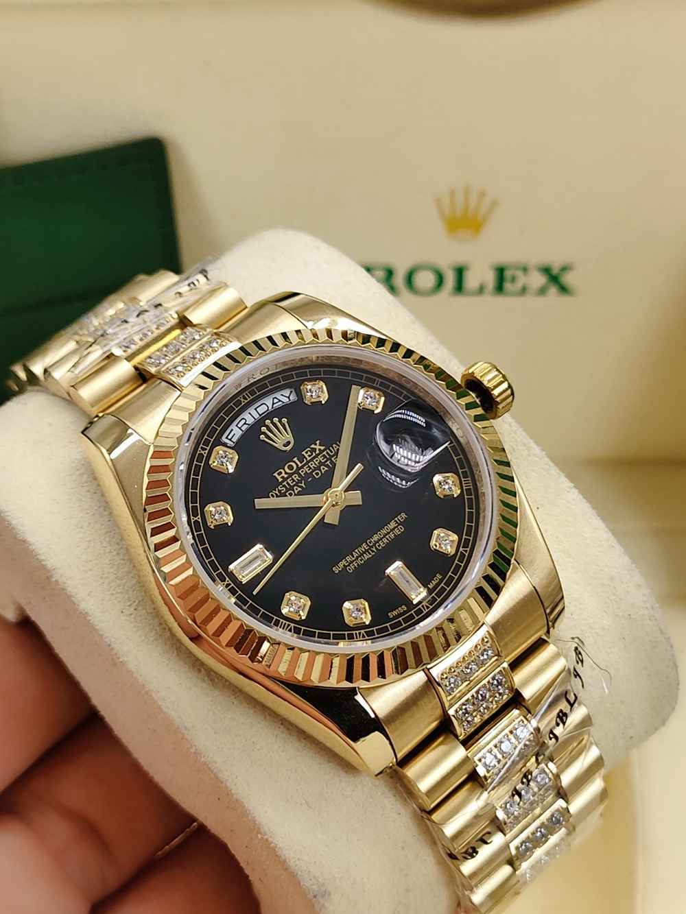 DayDate 36mm Gold/black AAA automatic 2813 fluted bezel diamonds strap S040
