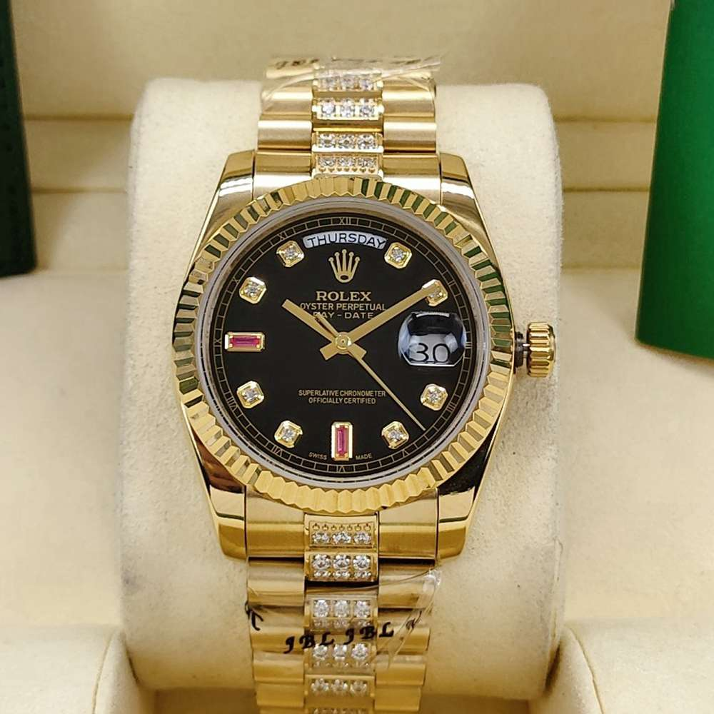 DayDate 36mm AAA automatic 2813 movement gold case black dial diamonds strap S040