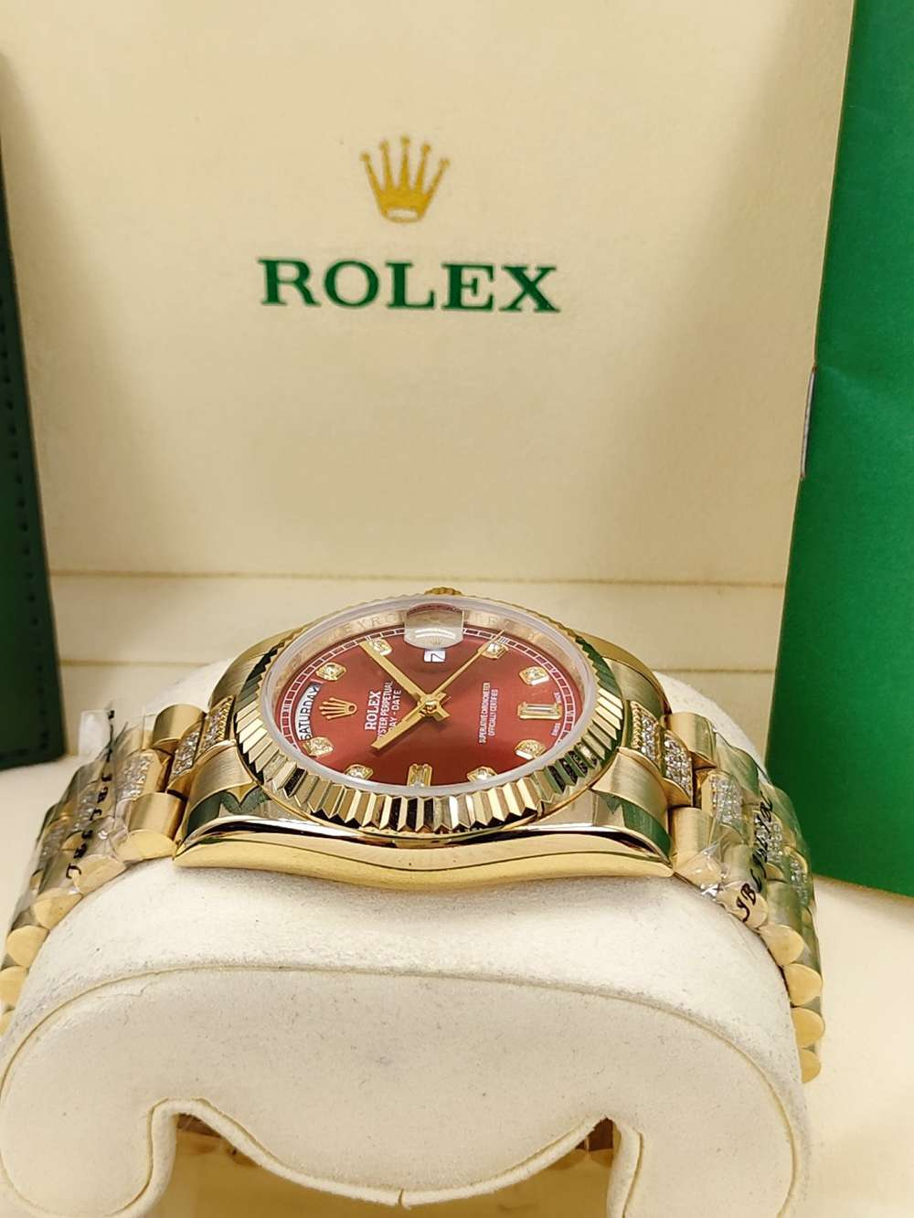 DayDate 36mm AAA gold case red dial fluted bezel diamonds strap automatic 2813 S040