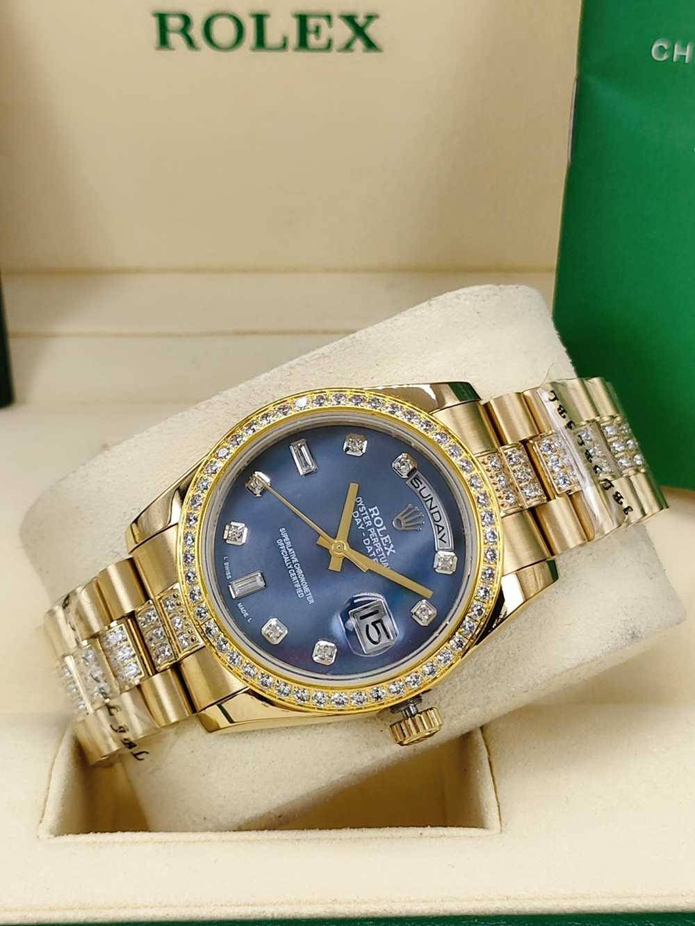 DayDate 36mm AAA automatic 2813 gold case blue pearl dial diamonds strap S040